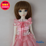 OUENEIFS bjd sd clothes 1/4 doll dress, pink blouse + lace, pink pleated skirt, 2 sets