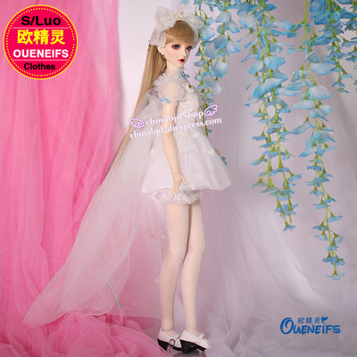 OUENEIFS bjd sd clothes 1/3 doll Bubble sleeve trailing white gauze waist princess skirt gauze skirt